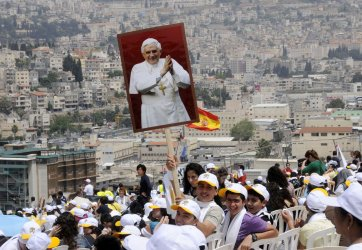 Christians celebrate the Papal Mass in Nazareth