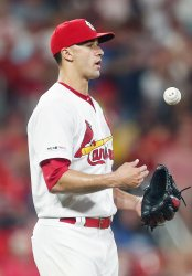 St. Louis Cardinals starting pitcher Jack Flaherty gives up home run