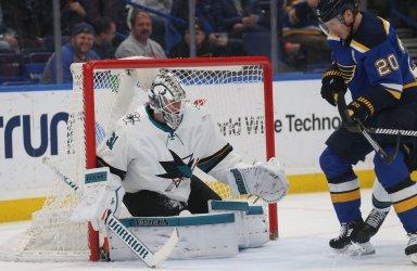 San Jose Sharks goaltender Martin Jones makes save on St. Louis Blues Alexander Steen
