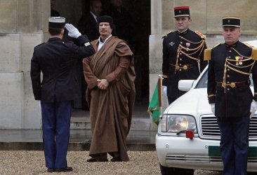 Lybian leader Gadhafi at the Elysee Palace in Paris