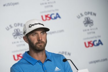 Dustin Johnson speaks to the media at the U.S. Open Championship at Erin Hills