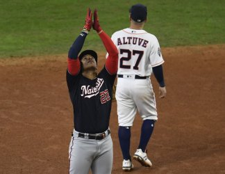 Nats Soto celebrates 2 RBI double in the World Series in Houston
