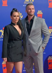 JWoww and Zack Clayton Carpinello attend the MTV Movie & TV Awards in Santa Monica, California
