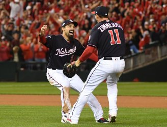Nationals celebrate win during NLCS  in Washington