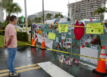 Memorial Near Partially Collapsed Building in Surfside, Florida