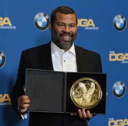 Jordan Peele appears backstage at the 70th annual Directors Guild of America Awards in Beverly Hills