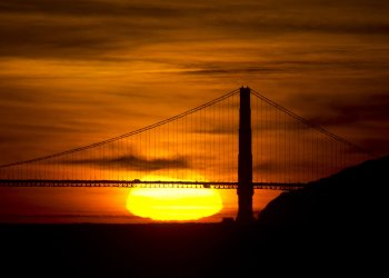 Sun sets behind the Golden Gate Bridge