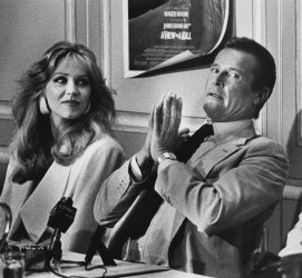 """Roger Moore and co-star Tanya Roberts hold press conference on newest james Bond film """"A View to a Kill"""""""