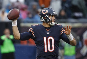 Bears Mitchell Trubisky looks to pass the ball against the Packers in Chicago