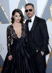 Charlotte Riley and Tom Hardy arrive for the 88th Academy Awards in Hollywood