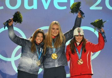 Women's Downhill victory ceremony in Whistler