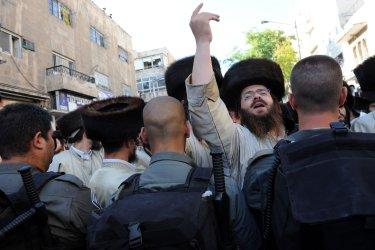 Ultra-orthodox Israeli Jews demonstrate against the desecration of the Sabbath in Jerusalem
