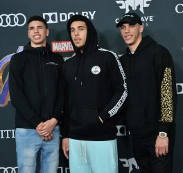 """LaMelo Ball, Liangelo Ball and Lonzo Ball attend """"Avengers: Endgame"""" premiere in Los Angeles"""