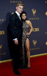 Ariel Winter and Levi Meaden attend the 69th annual Primetime Emmy Awards in Los Angeles