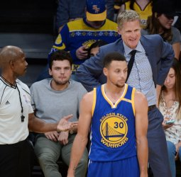Warriors Steph Curry argues the call in a game against the Lakers in Los Angeles