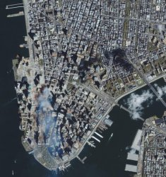 Satellite shows lower Manhattan before, after Sept. 11 attacks