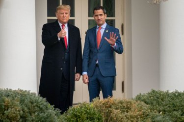 US Trump greets Venezuelan Opposition Leader Juan Guaido at the White House