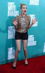 Casey LaBow arrives at the 2012 MTV Movie Awards in Universal City, California