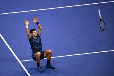 Novak Djokovic celebrates winning the Mens' Final at the US Open