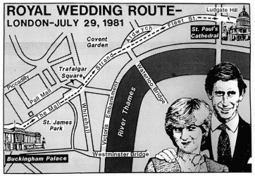 Planned wedding route of Prince Charles and lady Diana