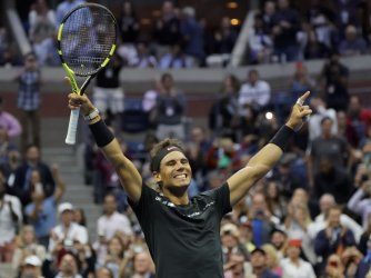 Rafael Nadal of Spain wins at the US Open