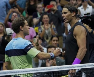 Rafal Nadal, of Spain, wins at the US Open