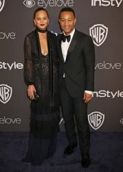 Chrissy Teigen and John Legend attend the InStyle and Warner Bros. Golden Globe after-party in Beverly Hills