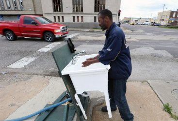 Hand washing station on St. Louis Street
