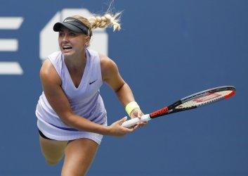 Anastasia Potapova of Russia serves at the US Open
