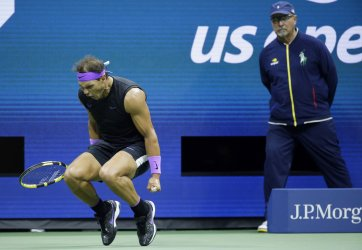 Rafael Nadal of Spain reacts after winning a set at the US Open