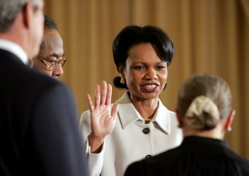 RICE TAKES OFFICE AS SECRETARY OF STATE