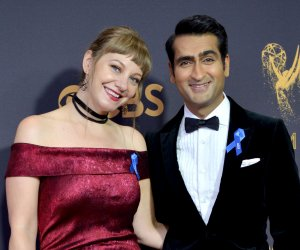 Emily V. Gordon and Kumail Nanjiani attend the 69th annual Primetime Emmy Awards in Los Angeles