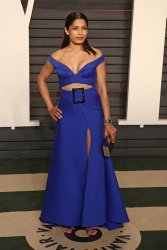 Freida Pinto arrives at the Vanity Fair Oscar Party in Beverly Hills