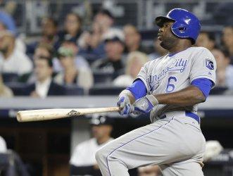 Kansas City Royals Lorenzo Cain drives in 2 runs with a single