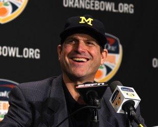 Wolverines  Harbaugh  at the Orange Bowl Coaches Presser