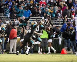 JaguarsJalen Ramsay celebrates interception in the NFL Wild Card Playoff