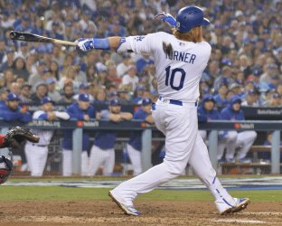Dodgers Turner doubles in sixth inning in Game 4 of the World Series
