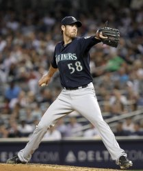Seattle Mariners starting pitcher Doug Fister throws a pitch at Yankee Stadium in New York