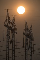 Smoke and high tension power in California