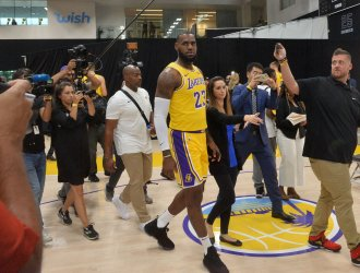 LeBron James participates in Los Angeles Lakers' media day in El Segundo, California