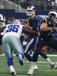 Los Angeles Rams quarterback Jared Goff looks to throw against the Dallas Cowboys