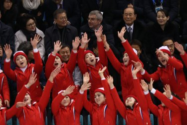 The joint North and South Korean Women's Ice Hockey Team Plays Against Switzerland At The 2018 Pyeongchang Winter Olympics