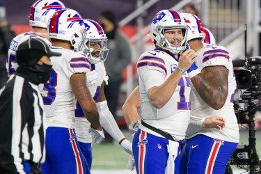 Bills Diggs and Allen celebrate TD against Patriots
