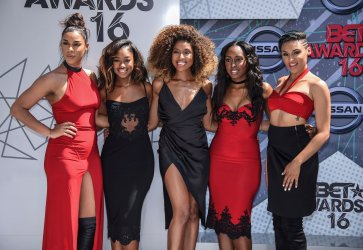 Kristal Lyndriette, Ashley Williams, Shyann Roberts, Brienna DeVlugt and Gabby Carreiro of June's Diary attend the BET Awards in Los Angeles