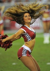 Cheerleader performs in Arizona