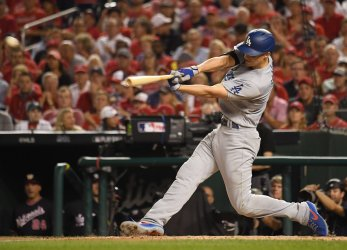 Dodgers' Corey Seager doubles during NLDS Game 4