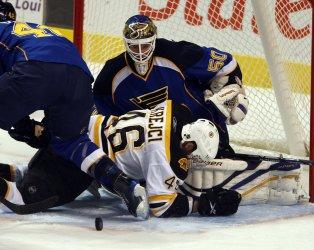 Boston Bruins David Krejci  St. Louis Blues Chris Mason