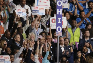 Delegates from Ohio are recognized at the DNC convention in Philadelphia