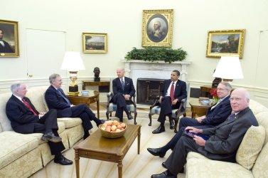 U.S. President Obama and Vice President Biden meet with bi-partisan Senate leaders in Washington
