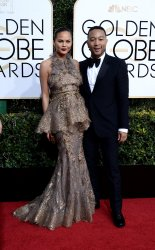 Chrissy Teigen and John Legend attend the 74th annual Golden Globe Awards in Beverly Hills